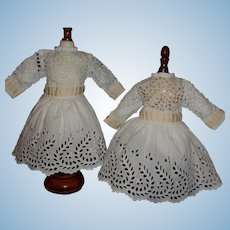 2 Lovely White Cotton Eyelet Antique Twin Doll Dresses