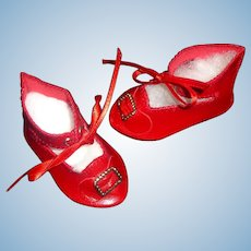 Pair of Red Artist Made Doll Shoes