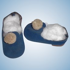 Pair of Vintage Blue Suede Doll Shoes