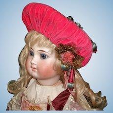 Great Pink Velvet Doll Hat, Oriental Style