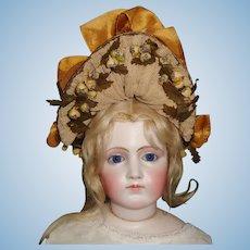 Wonderful Antique French Fashion Straw Doll Hat