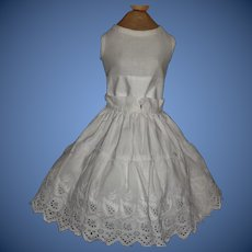 White Cotton Antique Eyelet Petticoat with Attached Chemise