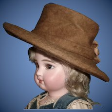Great Early Brown Wool Doll Hat