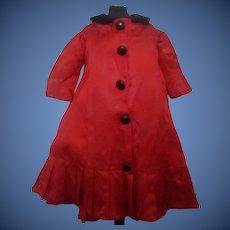 Red Silk Floral Doll Dress, Velvet Collar