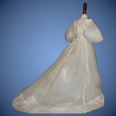 Nice Antique Sheer Organdy French Fashion Doll Gown
