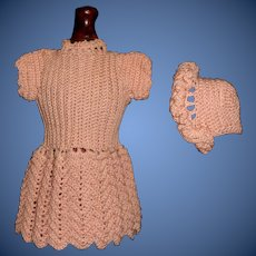 Lovely Peach Fine Knit Small Doll Dress and Bonnet