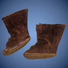 Small Pair of Antique Soft Leather Doll Boots