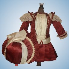 Lovely Dark Maroon Doll Dress and Bonnet for a French or German Bebe