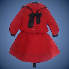 Fabulous Antique Red Wool Mariner Dress Jumeau, French, German