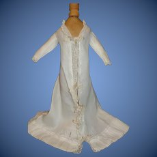 Lovely Antique White Cotton French Fashion Doll Gown / Wrap