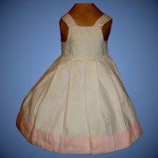 Nice White Cotton Flannel Doll Petticoat / Jumper, Pink Trim