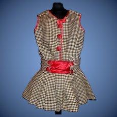 Wonderful Early Black and White Wool Doll Jumper, Red Silk Trim