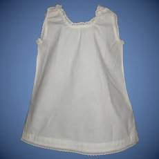 Pretty White Cotton Doll Chemise, Lace Trimmed