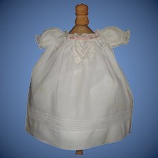 Sweet Little White Cotton Antique Doll Dress, Lace and Ribbons