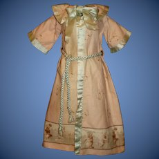 Adorable Pink Antique / Early Vintage Doll Robe, Dogs