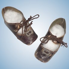 Pair of Brown Leather Antique Doll Shoes w Heels