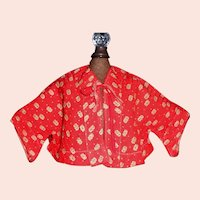 Red Print Early Fashion Doll Jacket