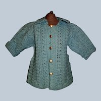 Wonderful Antique Blue Knit Sweater for a French or German Bebe