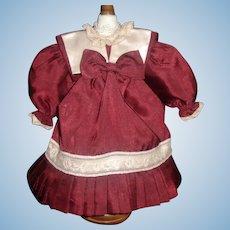 Pretty Maroon Silk Bebe Doll Dress, Attached Petticoat