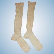 Pair of Antique Child Stockings. Large Doll or Stocking Making