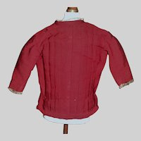 Nice Antique Maroon Red Challis Wool Fashion Doll Blouse