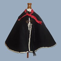 Nice Antique Black Silk Small Doll Cape