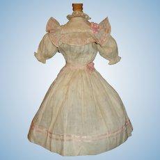 Fabulous Antique Pink Floral Doll Dress, Ribbon Rosettes