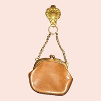 Nice Early Brown Leather French Fashion Chatelaine Doll Purse