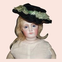 Black Velvet Antique Fashion Doll Hat