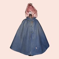 Early Antique Blue Wool Doll Cape, Fashion, China, Papier Mache