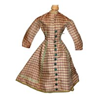 Lovely Early Antique French Fashion Silk Doll Dress
