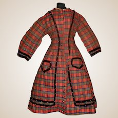 Wonderful Antique Red Plaid Large French Fashion Holiday Dress