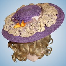 Sweet Vintage Purple Straw Doll Hat