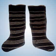 Pair of Black and White Stripe Cotton Antique Doll Stockings