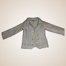 Blue Plaid Wool Boy Doll Jacket
