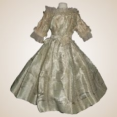 Pretty Antqiue Green Silk French Fashion Doll Dress for Study or Pattern