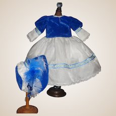 Sweet Blue Velvet and Organdy Doll Dress with Matching Bonnet