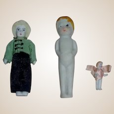 3 Small Bisque Frozen Charlotte Dolls