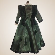 Lovely Antique Dark Green Silk Fashion / Lady Doll Dress