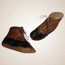 Pair of Antique  Brown and Black Leather Child / Doll Shoes
