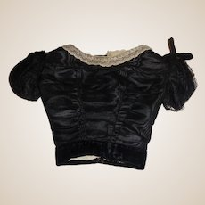 Antique Black Silk French Fashion Large Doll Bodice