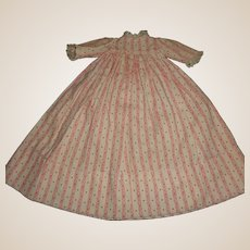 Sweet Dark Pink and White Cotton Antique Doll Dress, Cloth, China, Papier Mache.