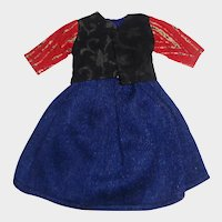 Antique Dark Blue Wool Skirt and Jacket for a Small Doll