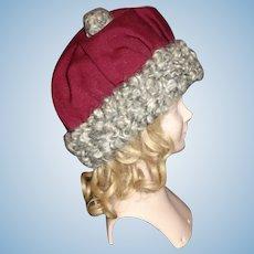 Nice Dark Maroon Wool Doll Hat, Kamkins