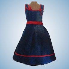 Dark Blue Corded Lady / Fashion Doll Dress / Jumper, Red Silk