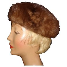 Ladies Vintage Brown Fur Hat