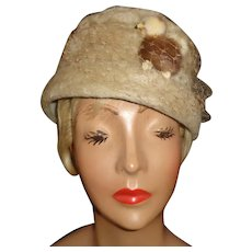 Ladies Vintage Tan Wool Mohair Hat, Poodle Decoration