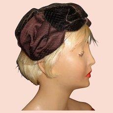 Ladies Vintage Velvet and Satin Hat