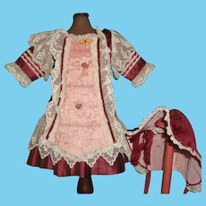 Lovely Doll Dress and Bonnet for a French or German Bebe