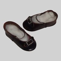Nice Pair of Antique French Doll Shoes, Incised 7 MB Paris